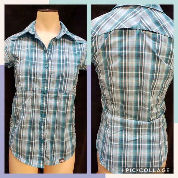 The North Face Tops - The North Face teal plaid button-down shirt